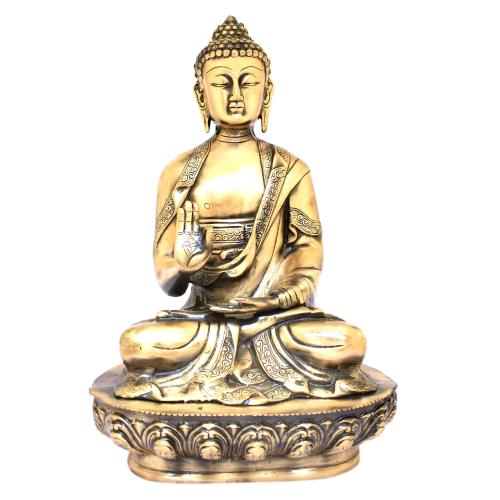 BRASS BUDDHA BLESSING SITTING WITHOUT BASE
