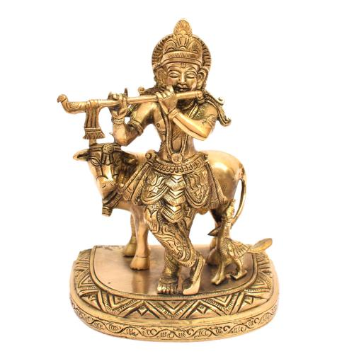 BRASS COW WITH KRISHNA STANDING