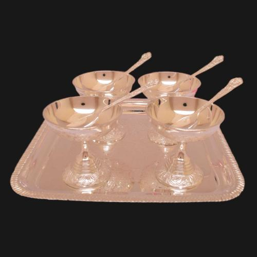 SILVER PLATED ICE CREAM BOWL SET OF 9(4 BOWL 4 SPOON 1 PLATE)