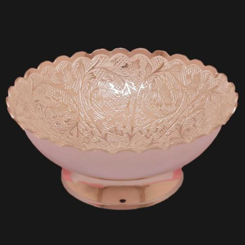 SILVER PLATED BOWL WITH ENGRAVE WORK