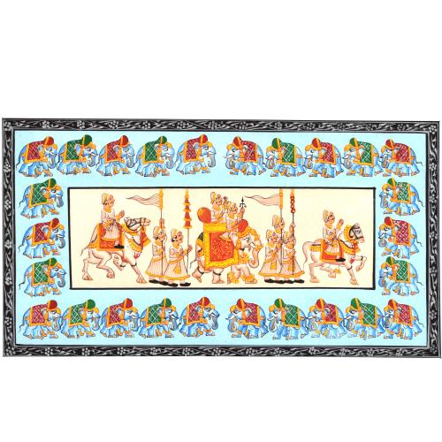 SILK PAINTING PA PROCESSION ELEPHANT BORDER