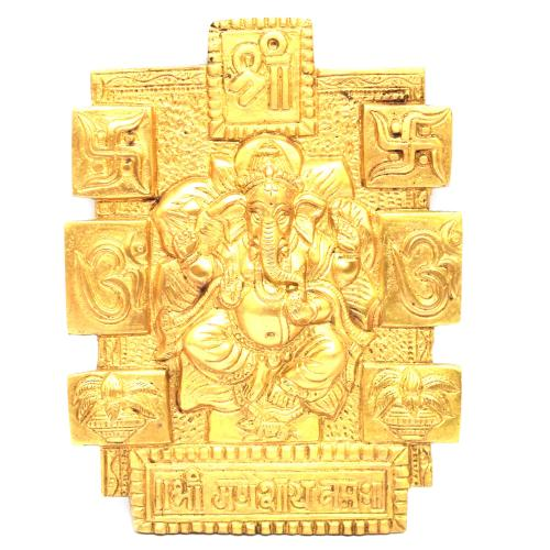 BRASS GANESHA WALL HANGING PLATE WITH MANTRA