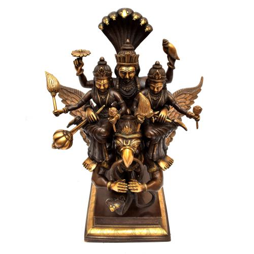 BRASS GARUDA WITH VISHNU AND LAKSHMI SANKE