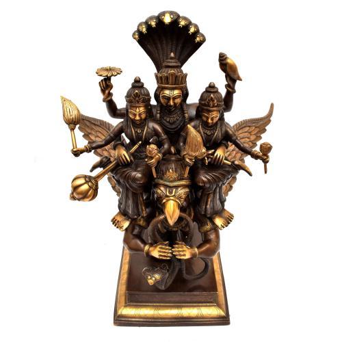BRASS GARUDA WITH VISHNU AND LAKSHMI SANKE
