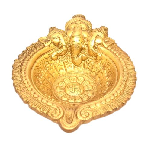 BRASS OIL LAMP 3 FACE GANESHA HAND DIYA