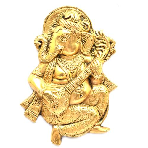 BRASS GANESHA WALL HANGING PLAYING SITAR