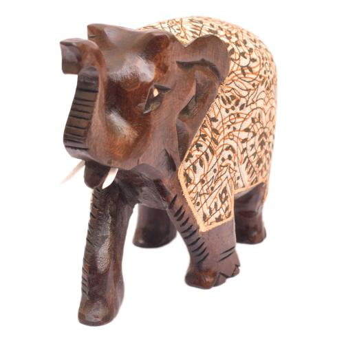 WOODEN ELEPHANT TRUNK UP WITH CLOTH OXOD
