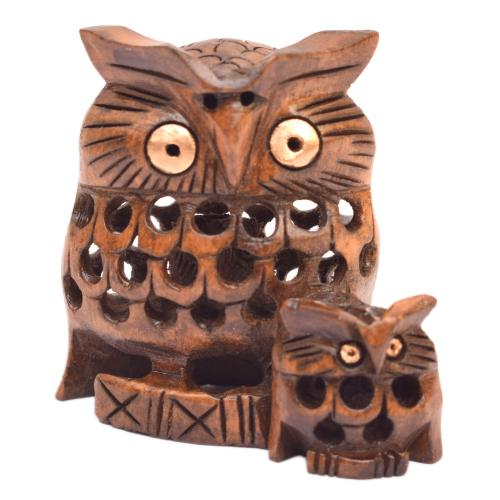 WOODEN OWL WITH BABY