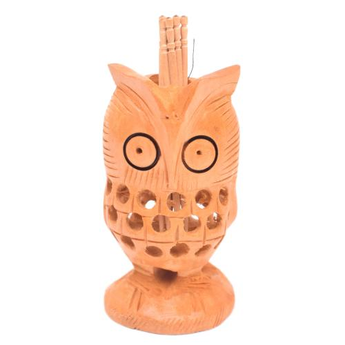WOODEN OWL TOOTH PICK HOLDER