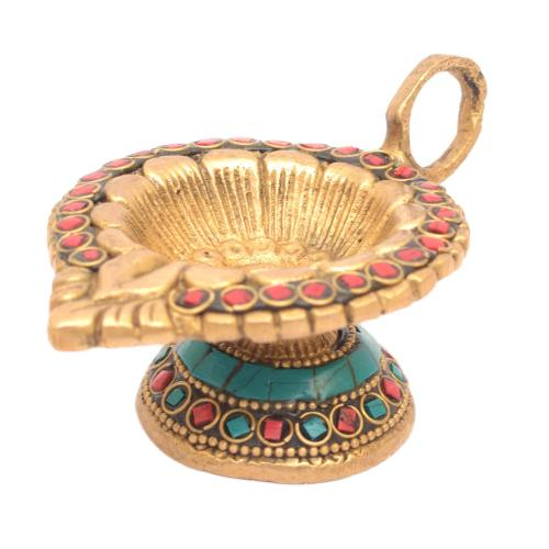 BRASS OIL LAMP CARVED OM DIYA