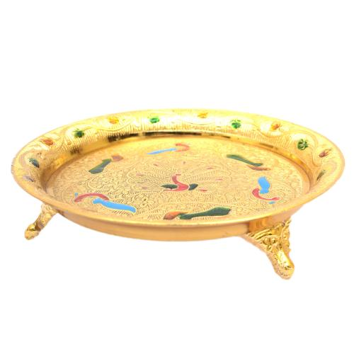 BRASS PEACOCK PLATE WITH 3 LEG
