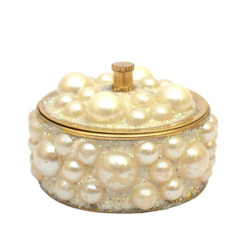 BRASS KUM KUM BOX PEARL DESIGN