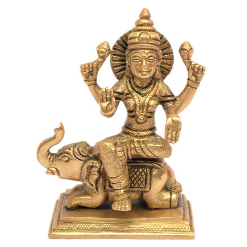 LAXMI SITTING ON ELEPHNAT WITH SQURE BASE