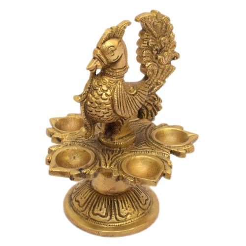 BRASS 5 DIYA PEACOK OIL LAMP