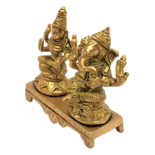 GANESHA & LAXMI SITTING ON CHOWKI