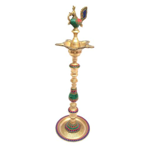 PEACOCK OIL LAMP WITH STONE WORK
