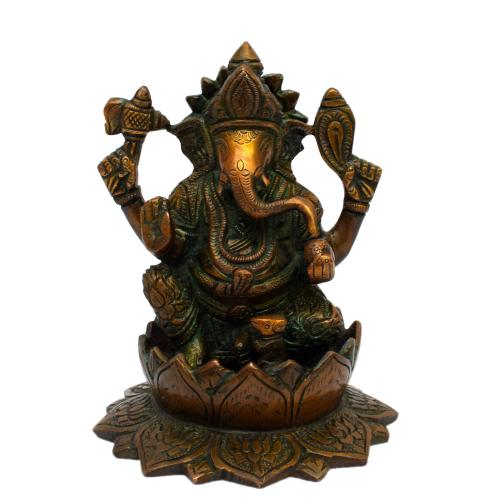 BRASS GANESHA SITTING WITH LOTUS BASE