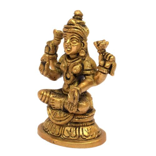 BRASS LAKSHMI SITTING ON ROUND BASE