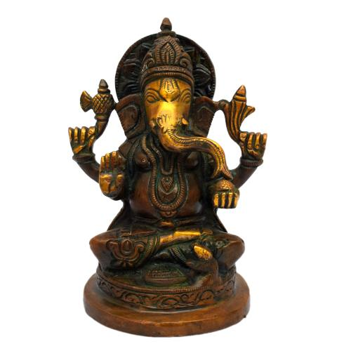 BRASS GANESHA SITTING ON ROUND BASE