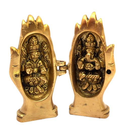 BRASS LAKSHMI GANESHA WITH FOLDING HAND