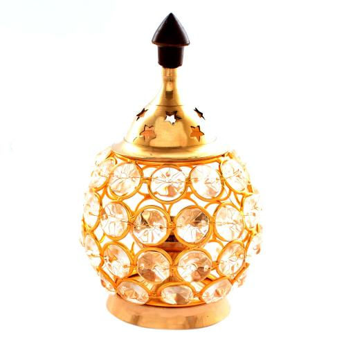 BRASS CRYSTAL DIYA WITH STONE