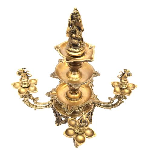 BRASS GANESHA PEACOCK OIL LAMP