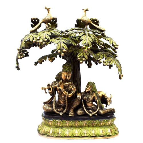 BRASS RADHA KRISHNA STANDING UNDER TREE