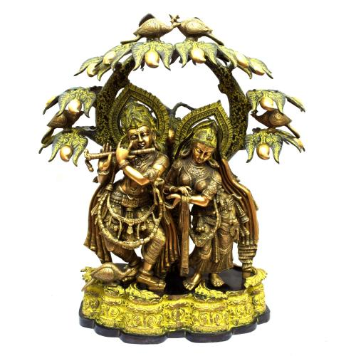 BRASS RADHA KRISHNA STANDING UNDER TREE WITH COW