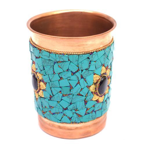 COPPER GLASS NEPALI STONE WORK