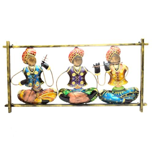 DECORATIVE HANDICRAFTS PAINTED 3 KRISHNA MUSICIAN IN PANEL