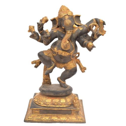BRASS GANESHA DANCING  ANTIQUE FINISH