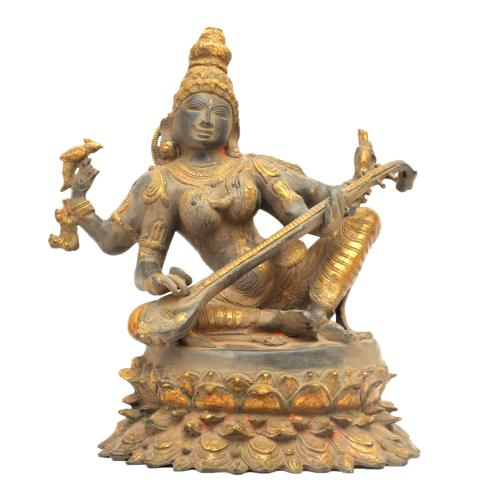 BRASS SARASWATHI SITTING ANTIQUE FINISH