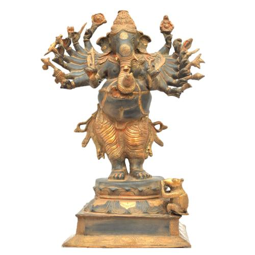 BRASS GANESHA 16 HANDS STANDING   ANTIQUE FINISH