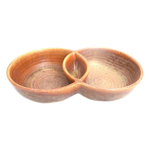 STUDIO POTTERY PLATER TWIN BOWL S-1033
