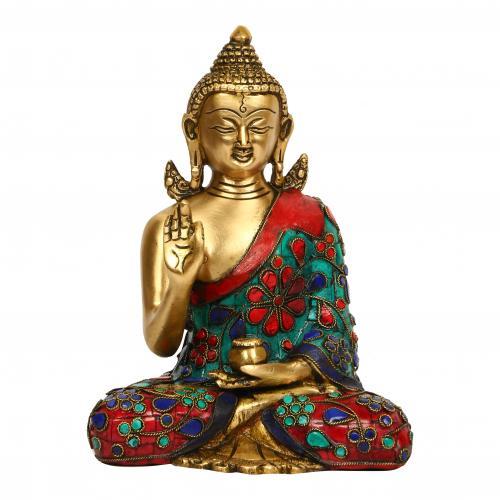 BRASS BUDDHA  STONE WORK