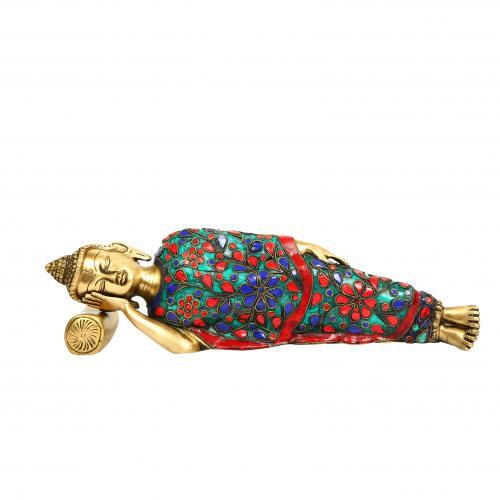 BRASS BUDDHA SLEEPING STONE WORK