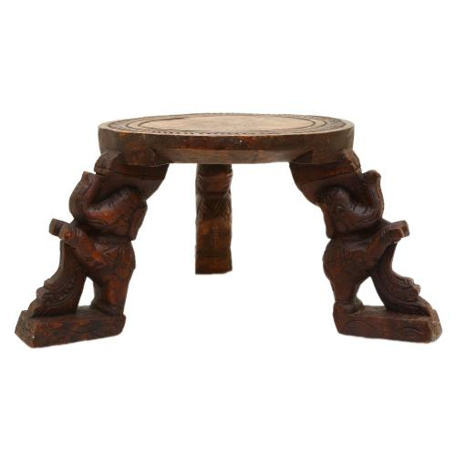 VAAGAI WOODEN ROUND STOOL  3  ELEPHANT LEGS