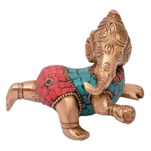 BRASS BABY GANESHA SITTING  WITH STONE WORK