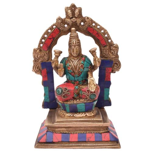 BRASS LAKSHMI SITTING  WITH STONE WORK