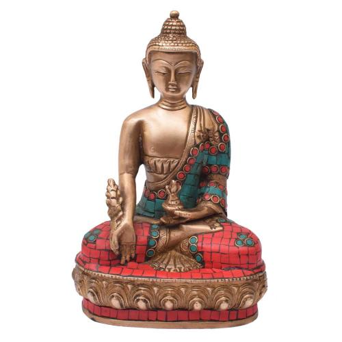 BRASS BUDDHA MEDITATION WITH STONE WORK
