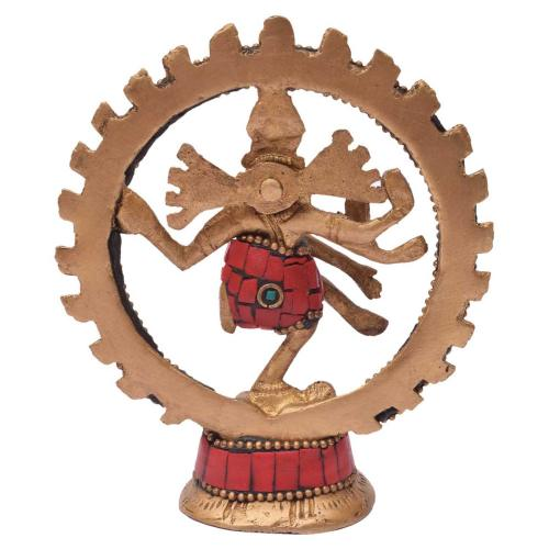 BRASS NATRAJA DANCING WITH STONE WORK