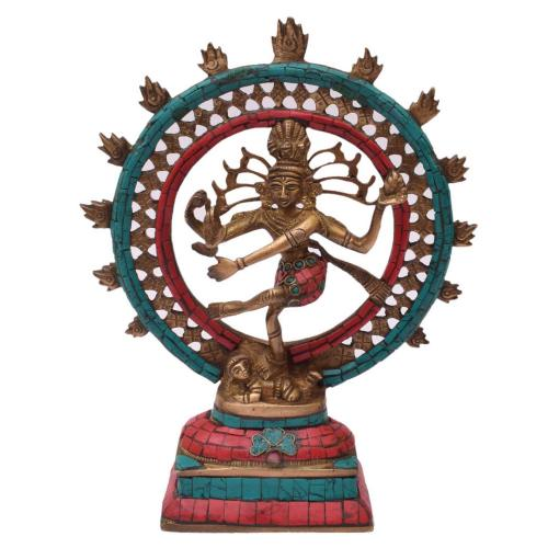 BRASS NATRAJ DANCING  WITH STONE WORK