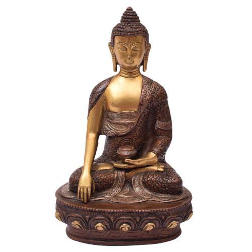 BRASS BUDDHA SITTING WITH BASE`