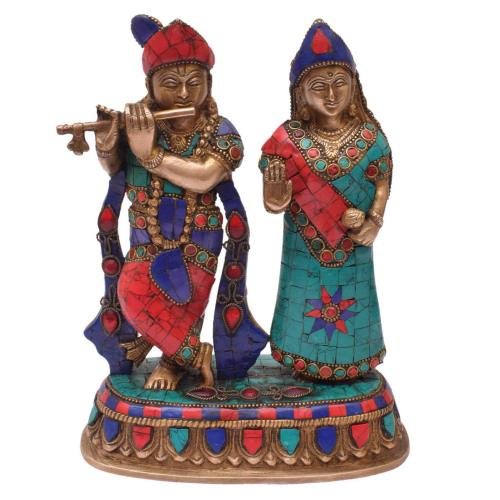 BRASS RADHA KRISHNA STANDING WITH STONE WORK