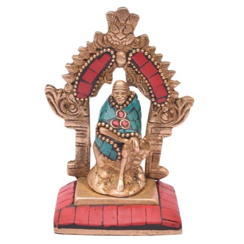 BRASS SAIBABA SITTING  WITH STONE WORK