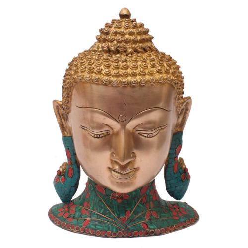 BRASS BUDDHA WALL HANGING WITH STONE WORK