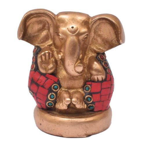 BRASS APPU GANESHA `WITH STONE WORK