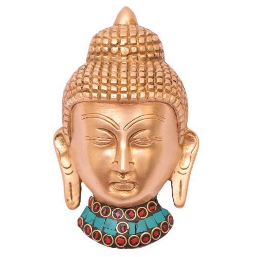 BRASS BUDDHA HEAD WALL HANG