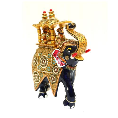 METAL PAINTED ELEPHANT AMBARI