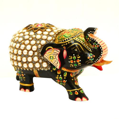 METAL PAINTED ELEPHANT STONE PAINTED